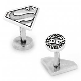 Solid 925 Sterling Silver Superman Cufflinks