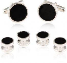 Solid Onyx 925 Sterling Silver Tuxedo Cufflinks & Studs