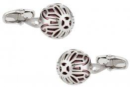 Swarovski Silver Caged Pearl Cufflinks in Burgundy