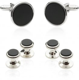 Men's Tuxedo Cufflinks and Studs - Black Onyx with Silver Tone