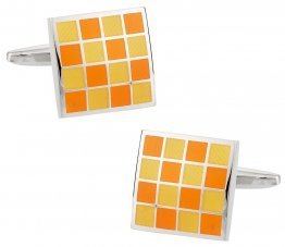 Yellow Orange Checkerboard Enamel Cufflinks