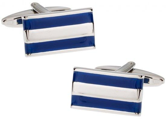 2 Bar Blue Enamel Cufflinks