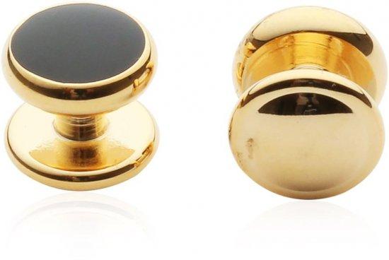 4 Gold Black Shirt Studs