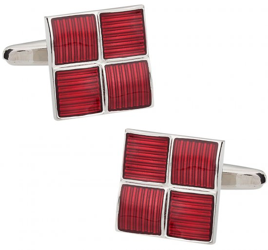 4 Square Red Cufflinks