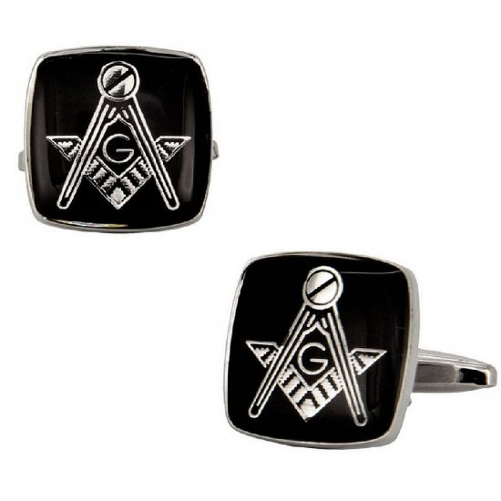 Masonic Silver Cufflinks in Black