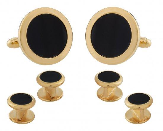 Mens Round Black Onyx Gold Cufflinks Studs Tuxedo Formal Set