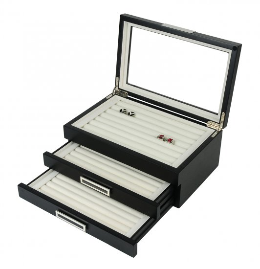 Mens Matte Black Wood Cufflinks Rings Triple Layer Storage Box Case with Glass Window