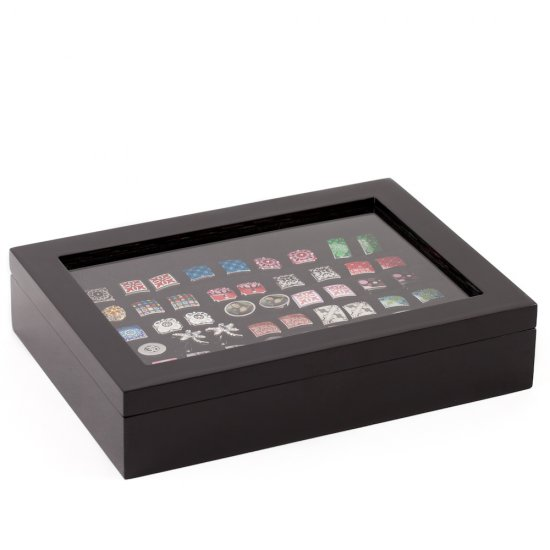Black Cufflinks Rings Storage Box Case (Holds 36 pairs)