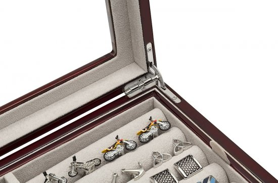 Mahogany Cufflinks Watches Storage Organizer Men's Box Case