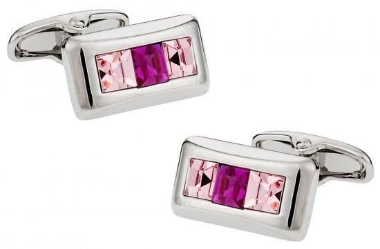Austrian Crystal Cufflinks in Pink