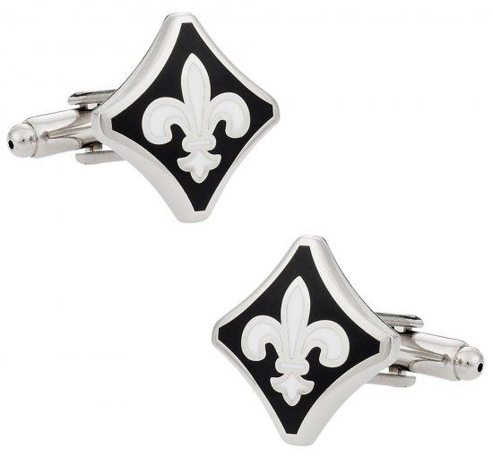 Black and White Fleur De Lis Cufflinks