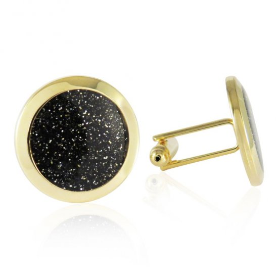 Black Diamond Dust Gold Cufflinks