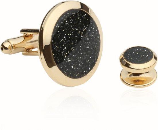Black Diamond Dust Gold Cufflinks and Studs
