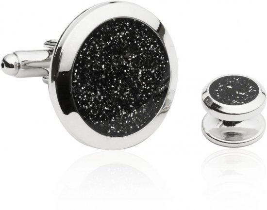 Men's Black Diamond Dust Tuxedo Cufflinks and Studs
