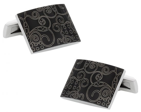 Black Stainless Steel Cufflinks Art