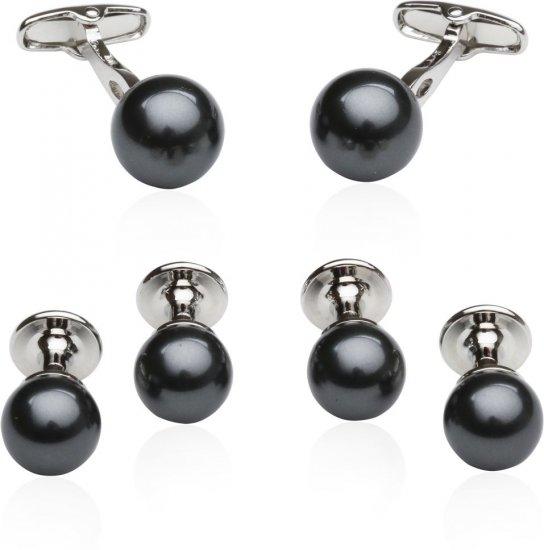 Black Swarovski Pearl Formal Set Cufflinks & Studs