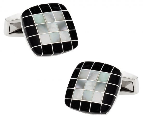 Black White Precious Grid Cufflinks