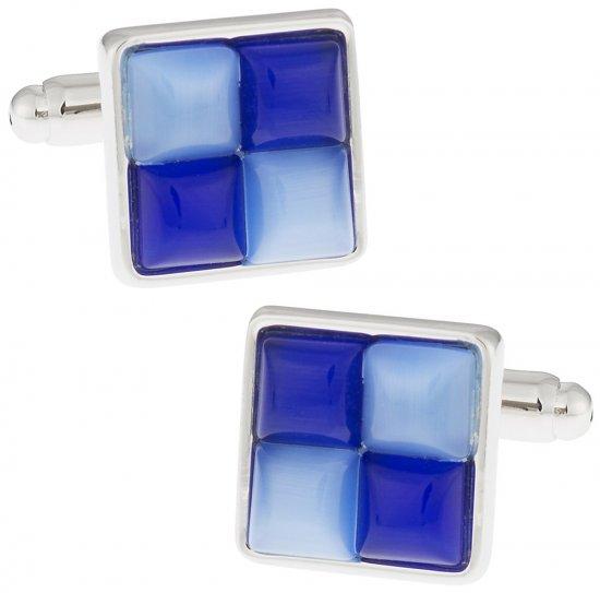 Blue Fiber Optic Glass Cufflinks