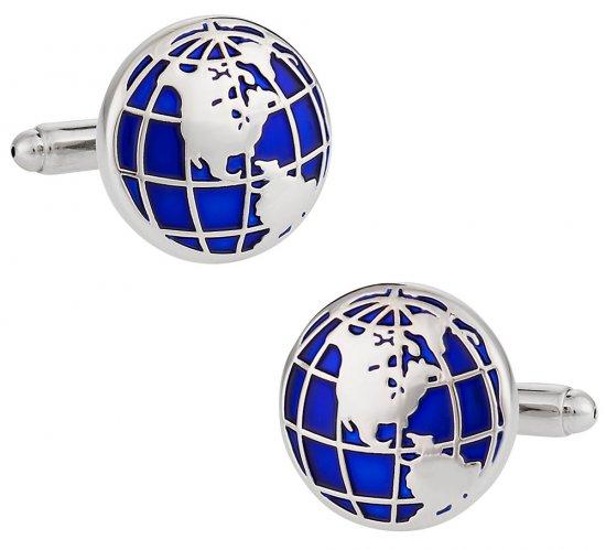 Blue Globe Frequent Flier World Traveler Cufflinks