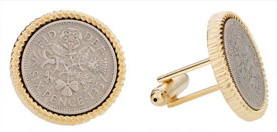 British Sixpence Coin Cufflinks