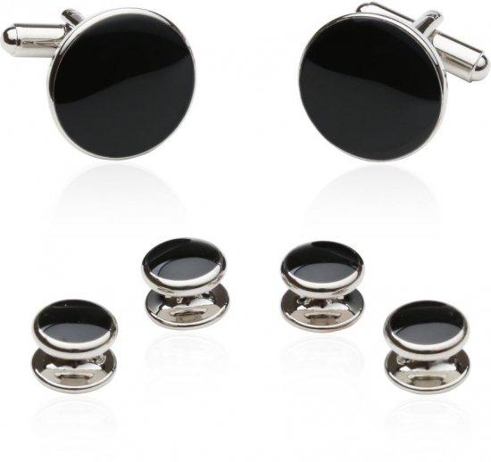 Discount Black Cufflinks and Tuxedo Studs Set