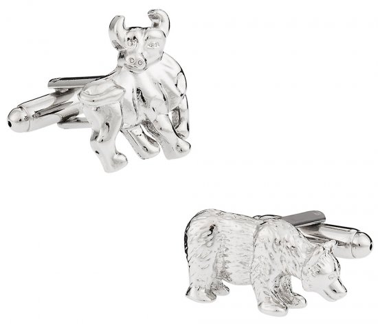 Mens Bull & Bear Cufflinks - Wall Street Finance Cufflink Gift Idea - Includes Travel Box