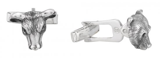Bull Bear Sterling Silver Head Cufflinks - Great Gift Idea