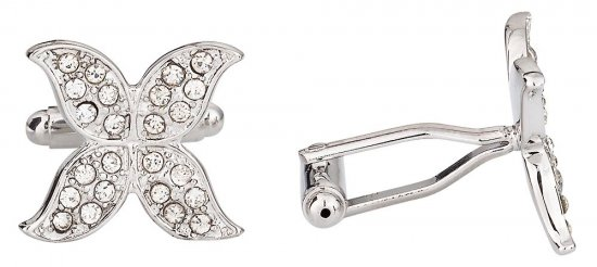 Womens Butterfly Cufflinks in Pave Crystal