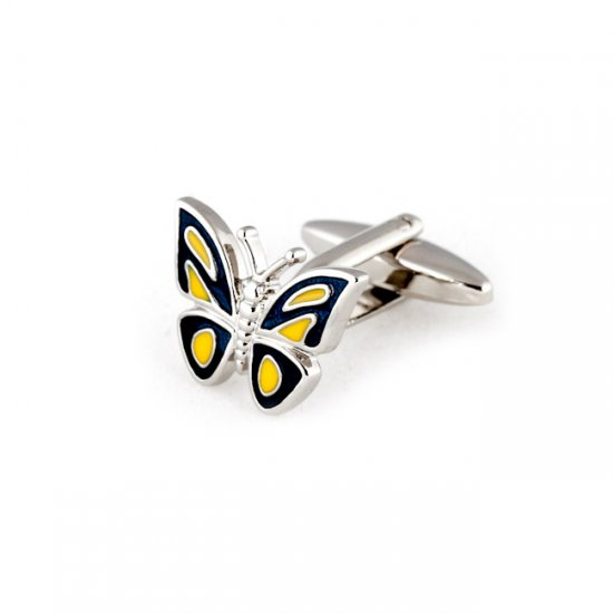 Butterfly Cufflinks - Blue Yellow