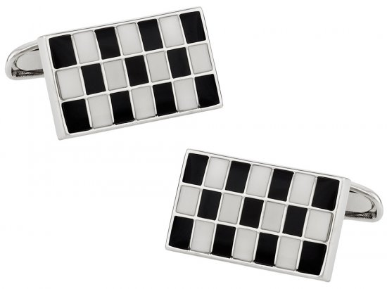 Black and White Checkerboard Cufflinks in Enamel