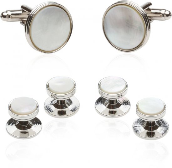 Classic Tuxedo Cufflinks Studs with Mother of Pearl Silver