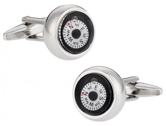 Compass Cufflinks in White
