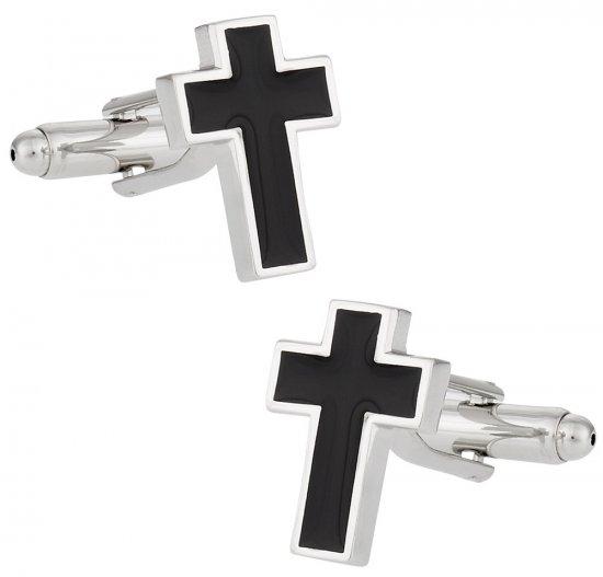 Cross Cufflinks in Black