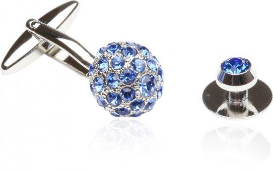 Crystal Ball Cufflinks Studs Blue