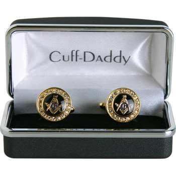 Crystal Gold Masonic Cufflinks