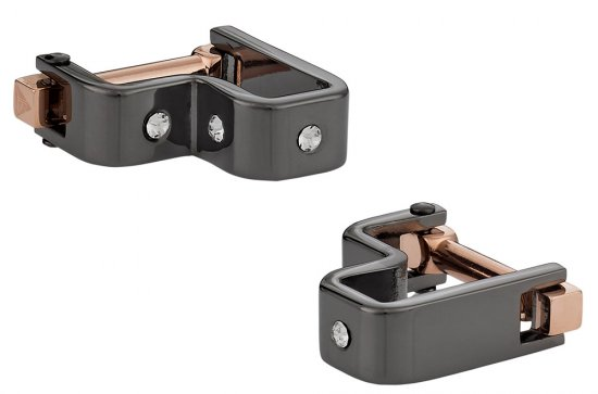 Crystal Step Gun Metal Cufflinks