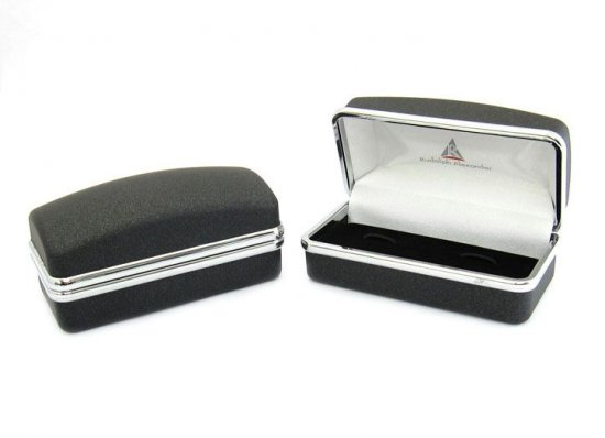 Crystal Wedge Cufflinks in Black