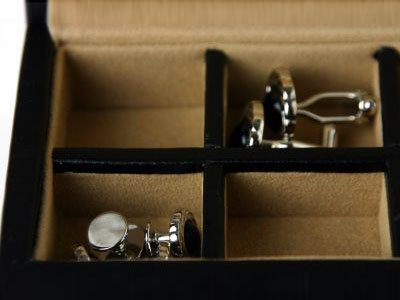 Cufflinks Box in Black Leather