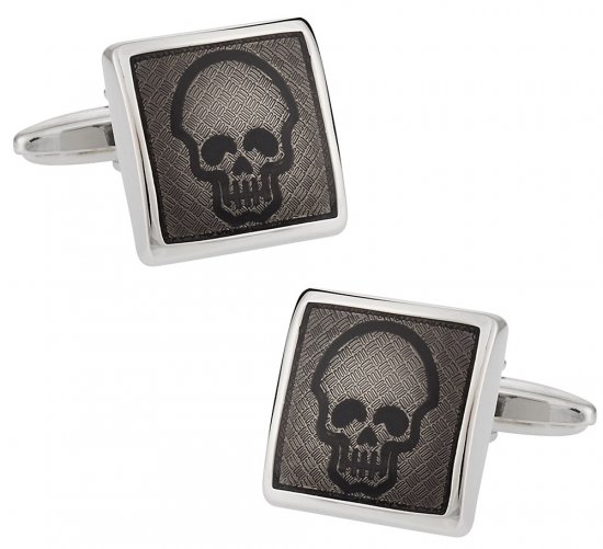 Diamond Plate Skull Cufflinks