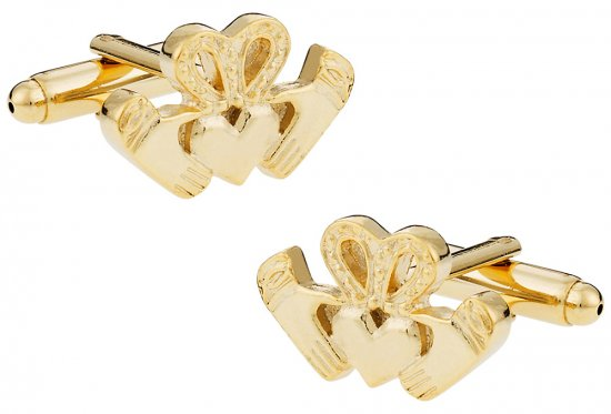 Gold Claddagh Cufflinks - Irish Love
