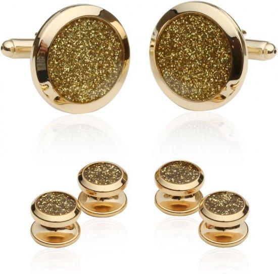 Gold Diamond Dust Tuxedo Cufflinks and Studs