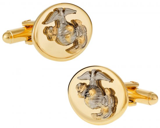 Gold Silver USMC Marine Corp Eagle, Globe & Anchor Cufflinks for Officer