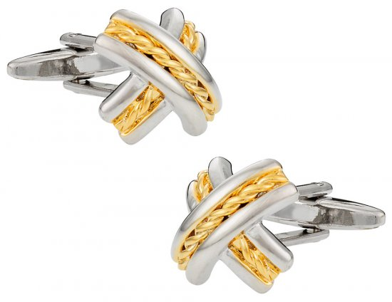 Gold Silver X Cufflinks