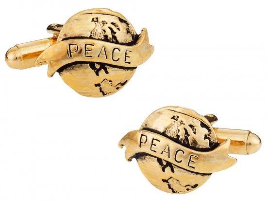 Gold World Peace Cufflinks