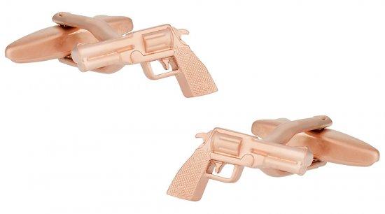 Rose Gold Golden Handgun Gun Cufflinks