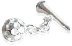 Golf Ball & Tee Cufflinks in Sterling Silver