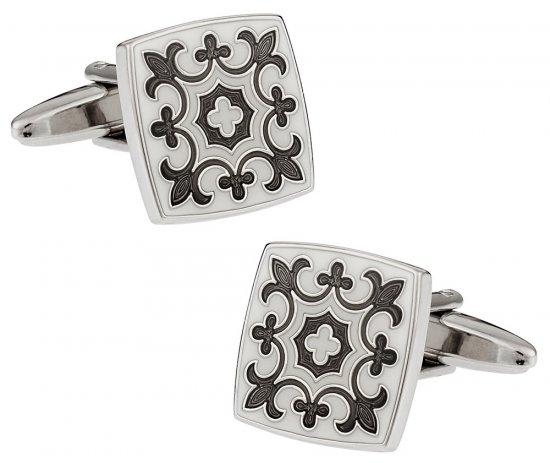 Fleur Di Lis Cufflinks in Gray & White