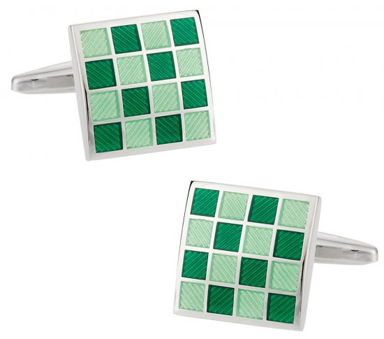 Green Checkerboard Enamel Cufflinks