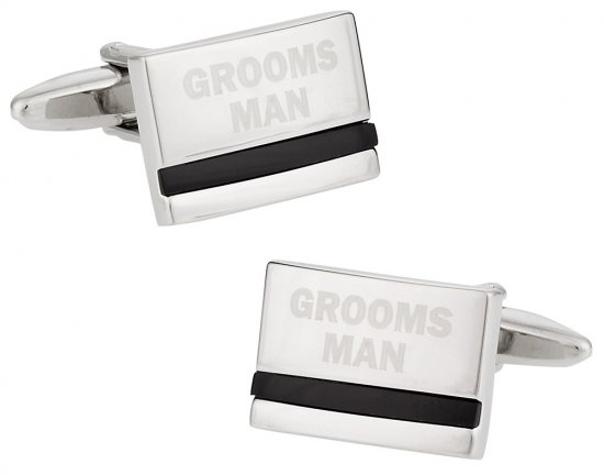 Groomsman Wedding Cufflinks with Onyx