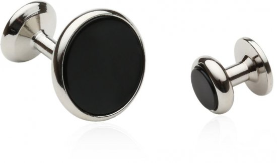 Mens' Wedding Cufflinks & Studs in Black Onyx & Silver